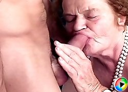 Granny removes her dentures to suck a fresh cock better and gets rewarded with a great fuck