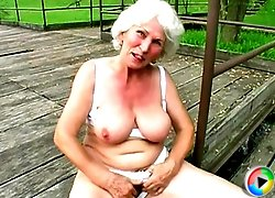 Horny old lady likes to suck cock