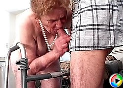 Super old grandma sucking cock