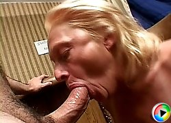 Old blonde gets mouth fucked