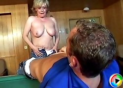 Granny gets fucked on the billiard-table