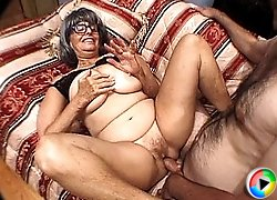 Cock hungry gran sits on cock
