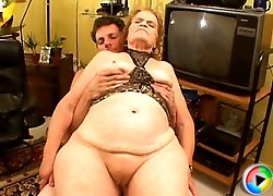 Nasty granny drilled by kinky dude