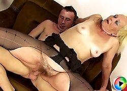 His mature mother in law ends up riding his cock while he gropes her soft ass flesh